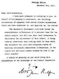 1917 Balfour Declaration Dear Lord Rothschild