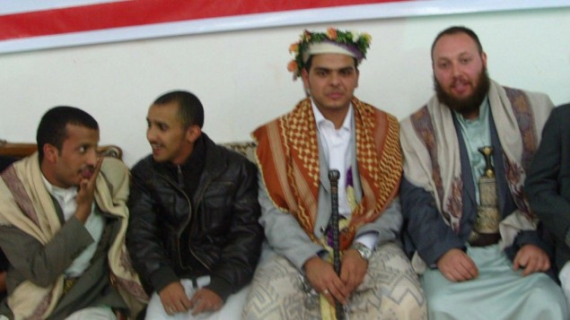 Suspected Mossad Operative, Steven Sotloff (far right) in Yemen (2011)